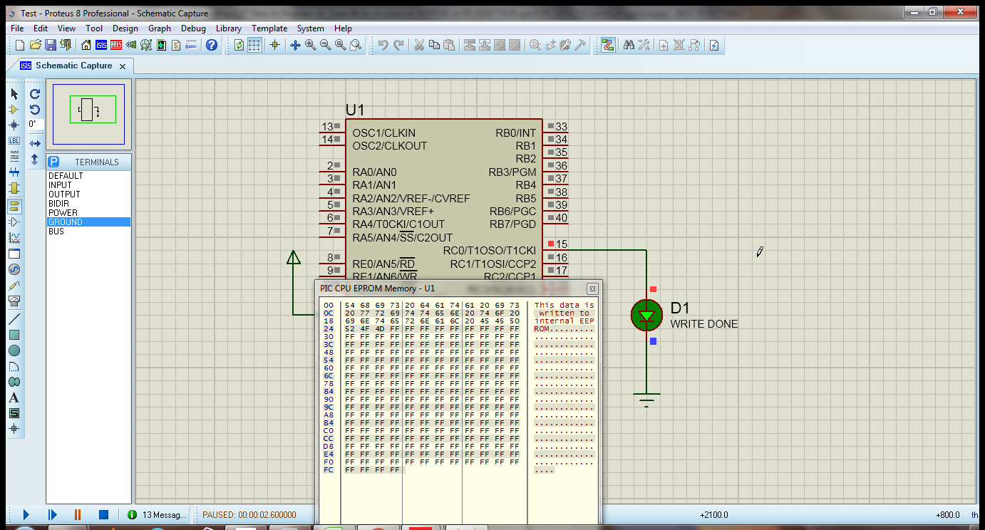 How To Data Write Into Internal Eeprom Of Pic16f877a Ilmaan Technology Blinking Led Using Pic Microcontroller Mikroc Pro