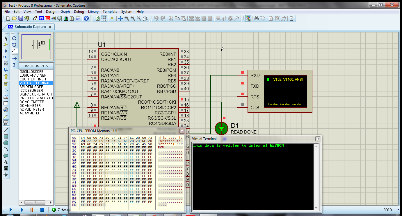 How To Data Read From Internal Eeprom Of Pic16f877a Ilmaan Technology Blinking Led Using Pic Microcontroller Mikroc Pro